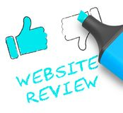 Website Review Displays Site Performance 3d Illustration. Website Review Thumbs Up Displays Site Performance 3d Illustration Royalty Free Stock Image