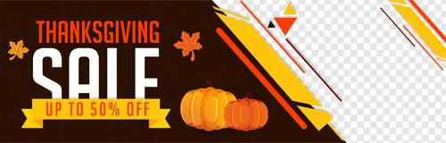 Website sale banner design with 50% discount offer with pumpkins. And maple leaves for Thanksgiving festival with space for your product image vector illustration