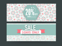 Website sale header or banner set. Beautiful floral design decorated Sale website header or banner set with discount offer for limited time Royalty Free Stock Image