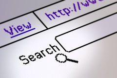 Website search. Screen detail of a computer monitor showing internet search page Royalty Free Stock Images