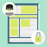 Website security. Website and circular icons of a thief and a padlock. Web Security and hackers Stock Images