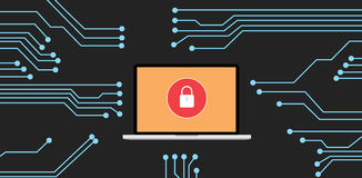 Website security. With laptop and binary code hack vector illustration