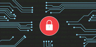 Website security. With lock and binary code hack royalty free illustration