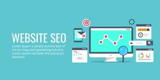 Seo optimization, programming process, web analytics concept. Flat design vector banner. Website seo analysis, website programming and coding. Seo audit and Royalty Free Stock Image