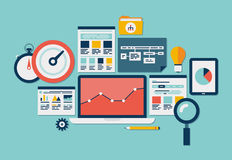 Website SEO and analytics icons stock illustration