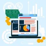 Website seo Analytikdiagramme auf Schirm von PC Stockbild