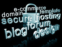 Website services concept. Website services and security concept 3d illustration