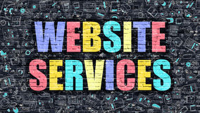 Website Services on Dark Brick Wall. Royalty Free Stock Images
