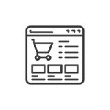 Website shop line icon. Outline vector sign, linear style pictogram isolated on white. Online shopping symbol, logo illustration. Editable stroke. Pixel Royalty Free Stock Image