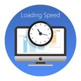 Website som laddar hastighet eller den arbetade tidsymbolen också vektor för coreldrawillustration royaltyfri illustrationer