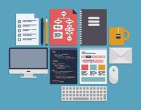 Website som programmerar ledning Arkivbild