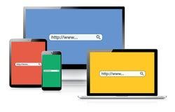 Website som söker vektorbegreppet som förklarar SEO-pr Royaltyfria Foton