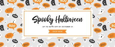 Website spooky header or banner with Halloween scary ghosts. Great for banner, voucher, offer, coupon, holiday sale. Vector illustration stock illustration