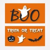 Website spooky header or banner set with Halloween. Pumpkin, bat and ghost Stock Photos