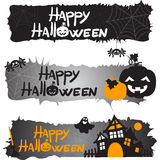 Website spooky header with Halloween pumpkin and spider Royalty Free Stock Image