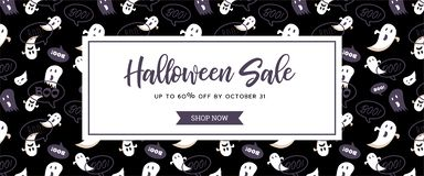 Website Spooky Header Or Banner With Halloween Scary Ghosts. Great For Banner, Voucher, Offer, Coupon, Holiday Sale. Stock Photos