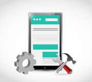 Website tablet gear and tools illustration Royalty Free Stock Photography