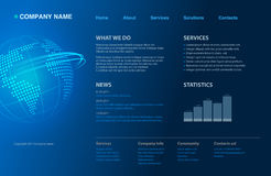 Website template. Dark blue website template new 2011 design Royalty Free Stock Image