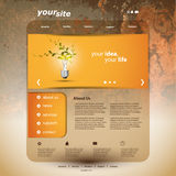 Website Template. Abstract orange website template with an eco lightbulb design - Illustration in freely scalable and editable vector format Royalty Free Stock Photo