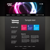 Website Template. Dark website template with abstract flashy circles design - illustration in freely scalable and editable vector format Royalty Free Stock Image