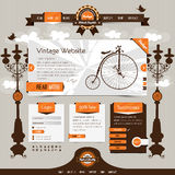 Website template. Vintage website template with retro, classic elements and textured ribbons, labels Stock Images