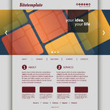 Website Template with Abstract Patterned Design. Modern Colorful Business or Technology Website Template with Squares Mosaic Design - Freely Scalable and Royalty Free Stock Images