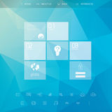 Website template with basic menu. Line art icons. Low poly blue vector background. Graphic user interface symbols. Eps10 vector illustration Stock Image