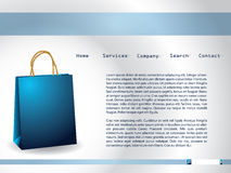 Website template with blue paperbag. And description Stock Image