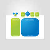 Website template design. Vector blue and green colored website template design Royalty Free Stock Image