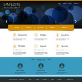 Website Template Design with Abstract Blue Header Stock Photo