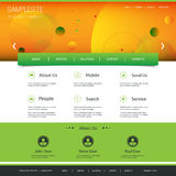 Website Template Design with Abstract Orange Header Stock Images