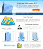 Website template 18. Website template design along with icons and images. Residential building for hire Royalty Free Stock Image