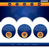 Website template design in blue and orange Royalty Free Stock Photos