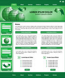 Website template design green. Website template design, green corporate style, layout and header elements stock illustration