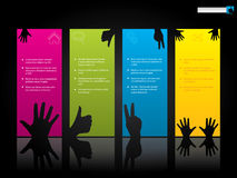 Website template design with hand symbols. On color labels Royalty Free Stock Images