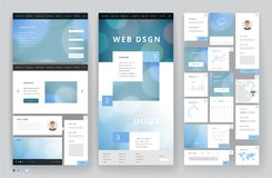 Website template design with interface elements Stock Photo