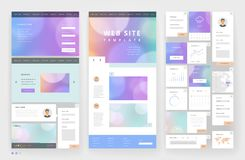 Website template design with interface elements Stock Image
