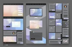 Website template design with interface elements Royalty Free Stock Image