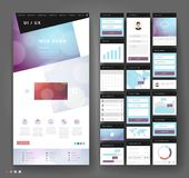 Website template design with interface elements Royalty Free Illustration