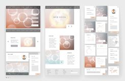 Website template design with interface elements. Earth and bokeh defocused backgrounds. Vector illustration Stock Image