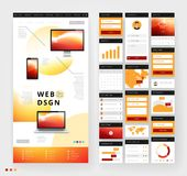 Website template design with interface elements Royalty Free Stock Photo