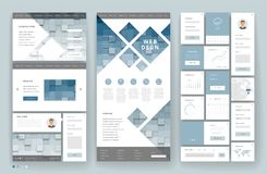 Website template design with interface elements Stock Illustration