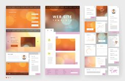Website template design with interface elements Stock Photography