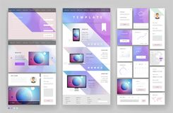 Website template design with interface elements. Earth and bokeh defocused backgrounds. Vector illustration Stock Images