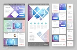 Website template design with interface elements. Earth and bokeh defocused backgrounds. Vector illustration Stock Photo