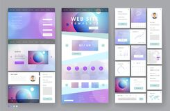 Website template design with interface elements. Earth and bokeh defocused backgrounds. Vector illustration Stock Photography