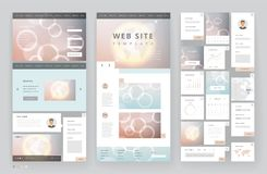 Website template design with interface elements. Earth and bokeh defocused backgrounds. Vector illustration Royalty Free Stock Images