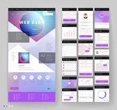 Website template design with interface elements. Earth and bokeh defocused backgrounds. Vector illustration Stock Photos