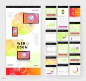 Website template design with interface elements. Earth and bokeh defocused backgrounds. Vector illustration Royalty Free Stock Photography