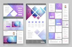 Website template design with interface elements Stock Photos